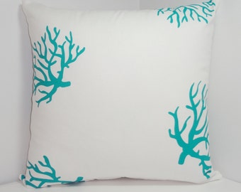Teal Coral Pillow Cover Teal/White Ocean Coral Pillow Cover 20x20