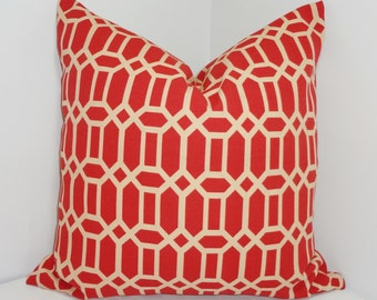 OUTDOOR Terracotta/Tan Geometric Pillow Cushion Cover Porch Pillow 16x16