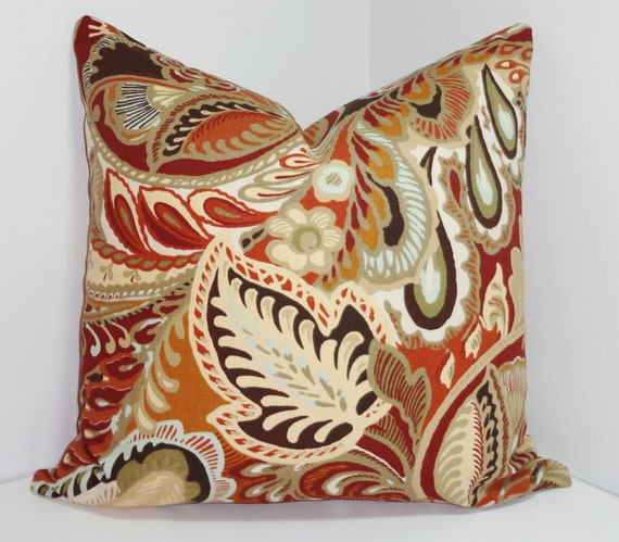 Decorative Pillow Large Floral Brown Blue Rust Gold by HomeLiving