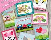 INSTANT DOWNLOAD Kids Valentines Cards - Preschool Valentine Cards  (Set of 8 Designs) DIY Printable