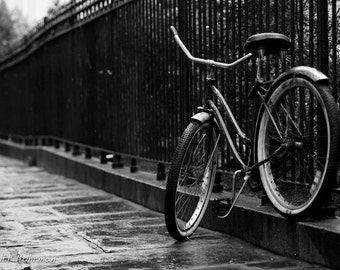 Bicycle Photography, Black and White, French Quarter, New Orleans, Rainy Day