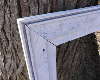 Extra Large White Shabby Chic Barn Wood Frame Photography Prop Rustic Reclaimed Primitive Open Farmhouse Chic