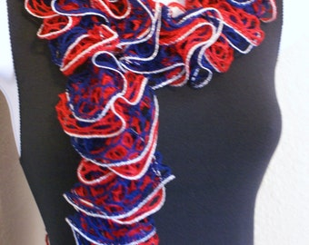 Ruffle scarf hand knit RED and BLUE Silver Shiny team colors 60 inches long