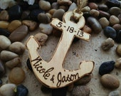 Nautical Personalized Anchor Christmas Ornament for Couples Newlyweds with Names & Wedding Date Perfect Gift for Destination Wedding