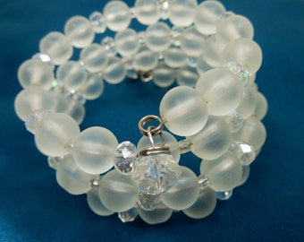 Frosty Beaded Bracelet with Crystals, Wrap Around Beaded Bracelet - Frosty Beads for Cool Bead Bracelet Fun, Frosty Glass Beads, Bracelets