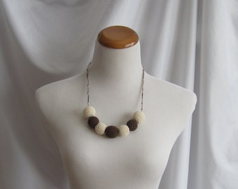 Crochet Covered Bead Necklace - Vanilla Cream and Chocolate Brown