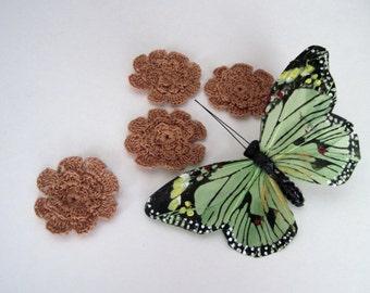 4 Crochet Flowers - Copper Brown Flat Pedal - Set of 4 Applique Embellishments