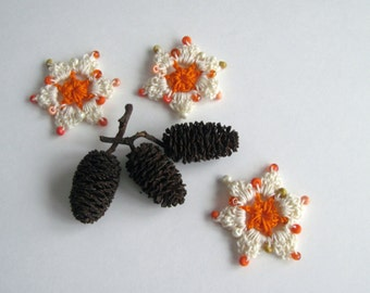 3 Crochet Beaded Flowers Mini - Orange and Cream with Shaded Orange Beads - Set of 3