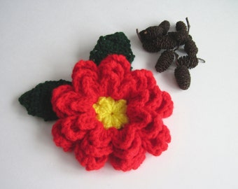 1 Crochet Holiday Poinsettia - Gift Wrap - Applique - Large Jumbo