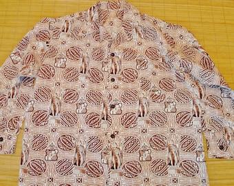 "Mens Vintage 40s Kamehameha Hawaiian Tiki Surf Shirt 55"" Chest - 2XL - The Hana Shirt Co"