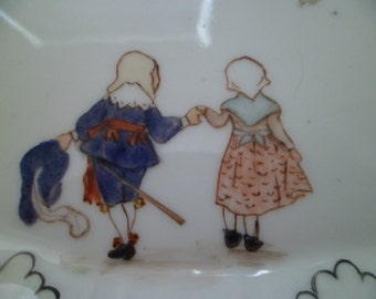 Antique French . Porcelain Trinket Dish , French Enfants , Children 1903