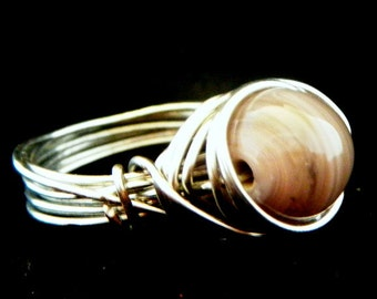 Wire wrapped ring, Handmade Ring, Purple bead ring