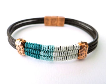 Thread & Leather Bracelet with Antique Copper Beads