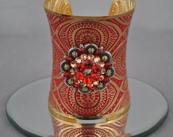 Bangle Cuff Bracelet-AZTEC RED