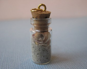 Mini Wrightsville Beach in a Bottle Pendant with Gold Tone Loop