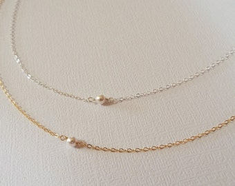 Tiny Pearl Necklace, Sterling Silver, Rose Gold or Yellow Gold Filled- Minimalist Everyday Jewelry, White Pearl, Bride, Gift, Bridesmaid