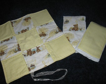 2 Burp Cloths and Binky Security Lovie Blanket