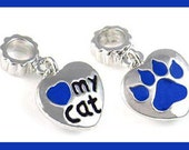 LOvE My CaT - DuaL Sided - Royal Blue Heart & Paw Print - Cat Lover - Dangle Charm Bead - fits European Bracelets - MD-2746-D