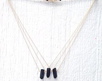 Black Necklace - Tourmaline Spike Gemstone - 14K Gold Filled Jewellery - Minimalist Jewelry - Point Arrow