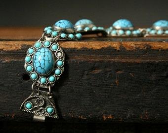 Vintage boho bracelet, glass turquoise beads, silver and turquoise bracelet