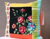 SALE 50%: Embroidered cross stitch pillow, A bouquet of roses , 20x20 inch, cushion cover