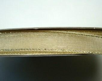 "3/8"" Organza Ribbon - Ivory with a Gold Edge - 25 yd Spool"