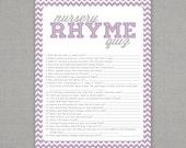 Nursery Rhyme Quiz - Baby Shower Game - Lavender Purple Chevron