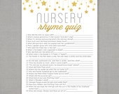 Nursery Rhyme Quiz - Baby Shower Game - Gold Stars