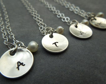 Personalized Bridesmaid initial  necklace set, Custom hand stamped sterling silver set of 4