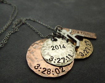 Personalized runners necklace, hand stamped mixed metals