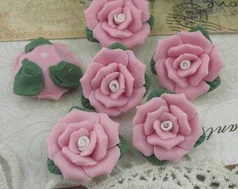 8pcs Rose Ceramic 21mm,Pink / White Centre(FCN-01R)