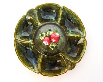 California Pottery Chip and Dip Platter with Lid Green Apples
