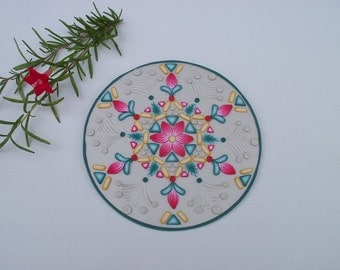 Christmas Mandala, polymer clay art, recycled CD artwork, flower mandala