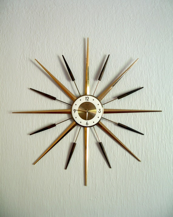 mid century modern roxhall starburst wall clock. Black Bedroom Furniture Sets. Home Design Ideas