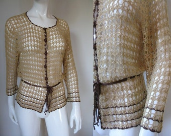 Vintage 1980s R&K Originals Crochet Button Front Cardigan with Belt