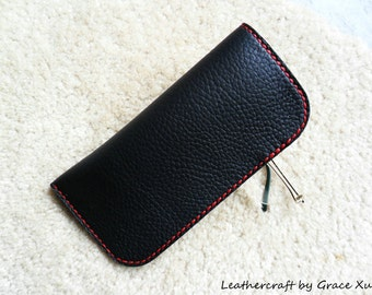 100% hand stitched handmade black top grain cowhide leather eyeglasses case