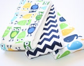 Baby Burp Cloths- Set of 3 - Urban Zoologie Owls and Whales with Navy Chevron