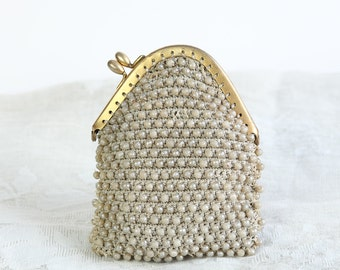 Vintage French Pearl Bead Embroidered Crochet Purse