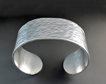 Hammered Silver Cuff Bracelet - Metal Cuff - Textured Bracelet