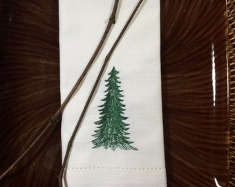 Forest Evergreen Tree Cloth Napkins, evergreen tree napkins, christmas tree napkins, tree cloth napkins, christmas tree linens, forest
