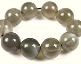 Great BARGAIN plus SALE - was 8.99 - Quality Dark Gray Adularescent Moonstone Round Bead - 10mm - 10 Pieces - A7175