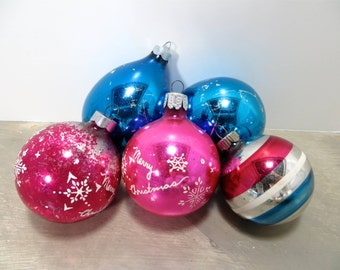 Vintage Christmas Bulbs Ornaments Glass Ornaments Shiny Brite Ornaments  Blue and Pink Holiday Decor Mercury Glass Ornaments