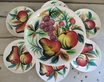 Vintage Salad Set Hand Painted Japan Salad Set wth Apples Pears and Grapes Vintage Kitchen Red Kitchen Fruit in the Kitchen Wedding Gift