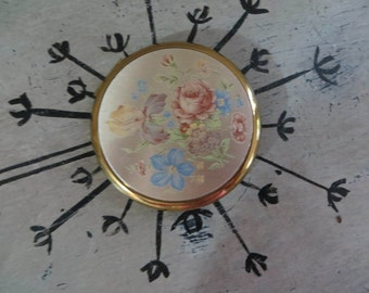 Vintage Compact Gold Tone Compact Floral Compact Pasterl Compact Mirror Blush Compact Mirrored Compact Flapjack Powder Compact