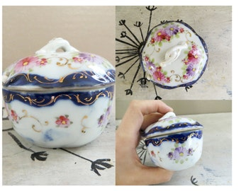 Hand Painted Covered Dish with Spoon Salt Cellar Honey Pot Sugar Bowl Porcelain Covered Dish Blue and Pink Floral Porcelain