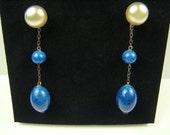 Vintage Pearl And Cobalt Blue Beaded Earrings