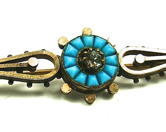 Vintage Turquoise And Rhinestone Brass Pin