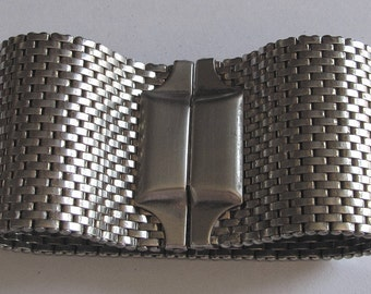 Vintage 40s KREISLER USA Rhodium Plated Base Metal Mesh Bracelet - Signed - Collectible