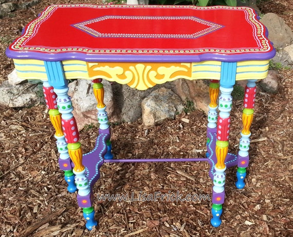 SOLD sample of CUSTOM WORK-Hand Painted Furniture- Side Table or Accent Table Listing for a Deposit or Down Payment