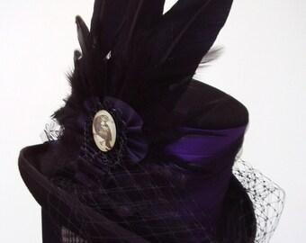 Gothic steampunk purple Raven top hat
